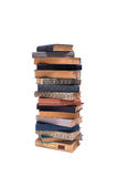 Stack of old books isolated on white background. Front view stock photography