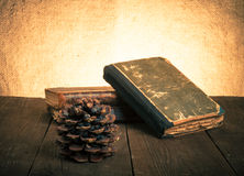 A stack of old books and pine cone on old wooden table against t Royalty Free Stock Photography