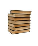 Stack of old books seen from ends isolated Stock Photos