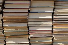Stack of old books. In full frame background Royalty Free Stock Photography