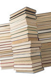 Stack of old books. Three stacks of old books on white background in studio stock photo