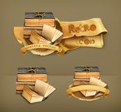 Stack of old books. Vector icons Royalty Free Stock Photos