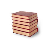 A stack of old books on the white Stock Image