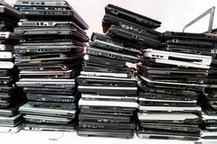 Stack of old, broken and obsolete laptop computer. For repair and recycle stock photography