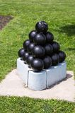 Stack of old cannonballs on Freedom Trail in Boston stock photos