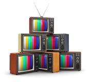 Stack of old color TV vector illustration