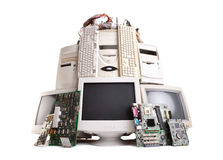 Stack of old computer Royalty Free Stock Photos