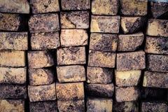 Stack of Old Dirty Bricks royalty free stock photos