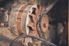 Stack of old and dirty motor generator royalty free stock photo
