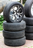 Rubber tires and wheel Stock Images