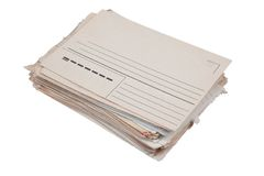 Stack of old envelopes isolated on a white background Royalty Free Stock Photos