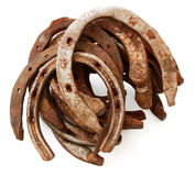 Stack of old horseshoes Royalty Free Stock Image