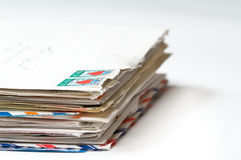 A stack of old letters. Stack of Love Letters with focus in the front Royalty Free Stock Photography