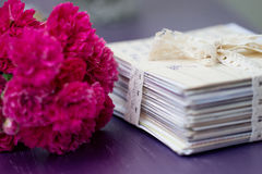 Stack of old letters with roses Royalty Free Stock Images