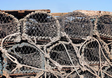 Stack of old lobster pots Royalty Free Stock Photo