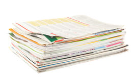 Stack of old magazines Stock Photo