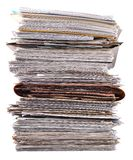 Stack of old magazines on a white Royalty Free Stock Images