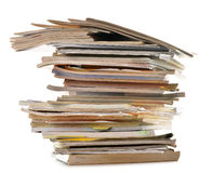 Stack of old magazines on white Royalty Free Stock Photography