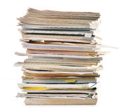 Stack of old magazines on white Royalty Free Stock Images