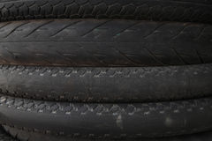 Stack of old motorcycle tires Royalty Free Stock Image
