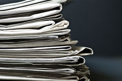 Stack of Old Newspapers Royalty Free Stock Image