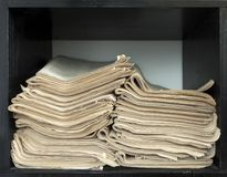 A stack of old newspapers. Royalty Free Stock Image