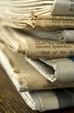 Stack of Old Newspapers. Closeup image of a stack of old newspapers stock photos