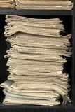Stack of old newspapers Stock Photo