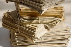 Stack of old newspapers Stock Image