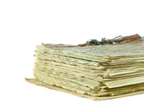 Stack of old newspapers isolated Royalty Free Stock Images