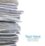 Stack of old paper. Close up stack of paper on white background Stock Images