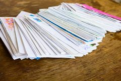 Stack of old paper letters Stock Images