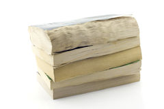 Stack of old paperbacks, isolated. Five old pocket books one on another, white background Stock Image