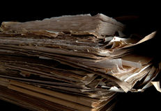 Stack of old papers Stock Photos