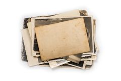 Stack of old photos with clipping path for the inside. Old photo frame. Vintage paper. Retro card stock images