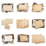 Stack of old photos with clipping path for the inside. Old photo frame. Vintage paper. Retro card stock photos
