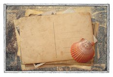Stack of old postcards vector illustration