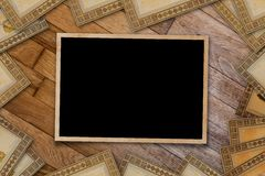 A stack of old postcards and frames Royalty Free Stock Photos