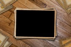 A stack of old postcards and frames Royalty Free Stock Photography