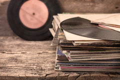 Stack of old records (sepia) Stock Images