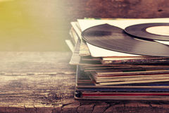Stack of old records Stock Photography