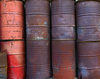 Stack of old red barrel Stock Image