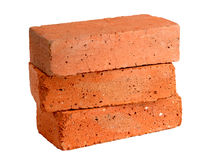 Stack of old red bricks Stock Images