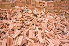 Stack of old red bricks Royalty Free Stock Image