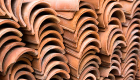 Stack of old red roof tiles Royalty Free Stock Photo