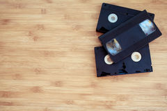 Stack old retro video cassette Stock Photography