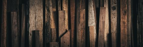 Dark Vintage Weathered Reclaimed Wooden Background - Web Banner royalty free stock photo