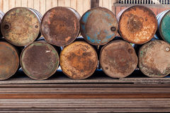Stack of old rusty gas tank Stock Images