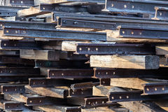 Stack of old rusty rails Stock Photos