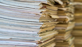 A stack of old school notebooks. Multicolored cover.  royalty free stock photos